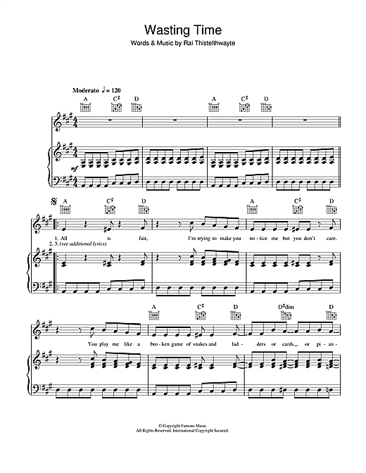 Wasting Time Sheet Music