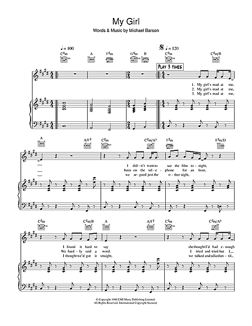 My Girl Sheet Music