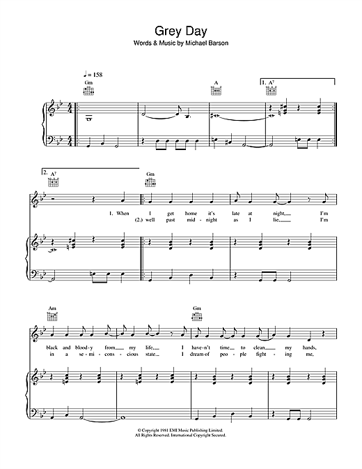 Grey Day Sheet Music