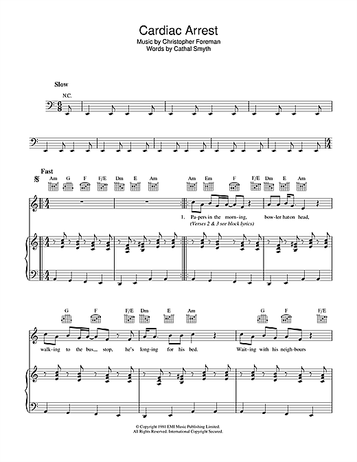 Cardiac Arrest Sheet Music
