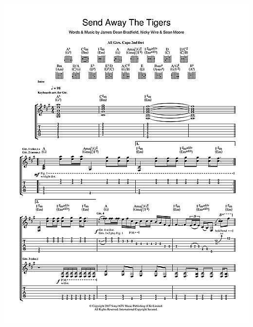 Tablature guitare Send Away The Tigers de The Manic Street Preachers - Tablature Guitare