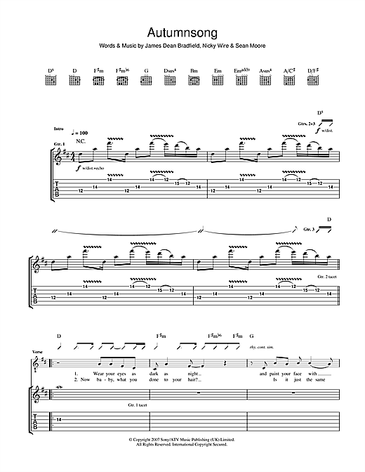 Tablature guitare Autumnsong de The Manic Street Preachers - Tablature Guitare