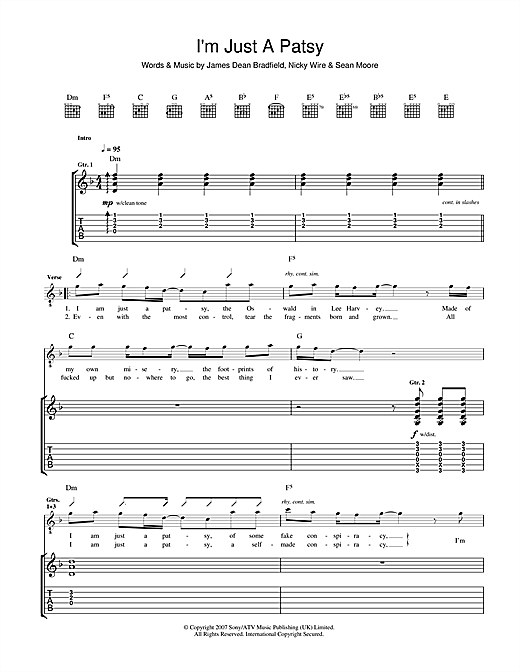 Tablature guitare I'm Just A Patsy de The Manic Street Preachers - Tablature Guitare