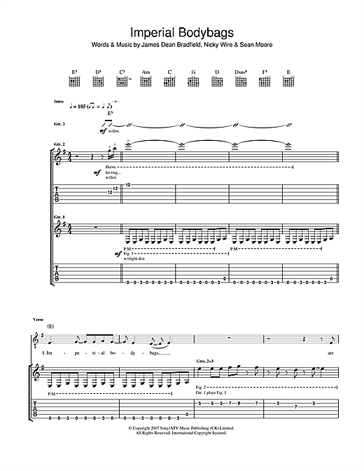 Tablature guitare Imperial Bodybags de The Manic Street Preachers - Tablature Guitare