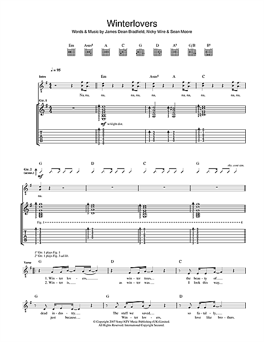 Winterlovers Sheet Music