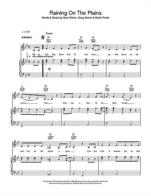 Raining On The Plains Sheet Music
