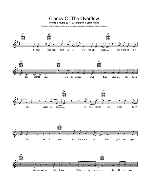 Clancy Of The Overflow Sheet Music