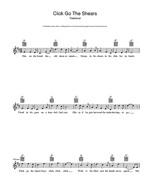 Click Go The Shears Sheet Music