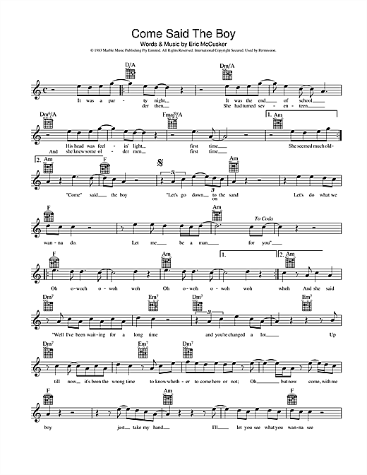 Come Said The Boy Sheet Music