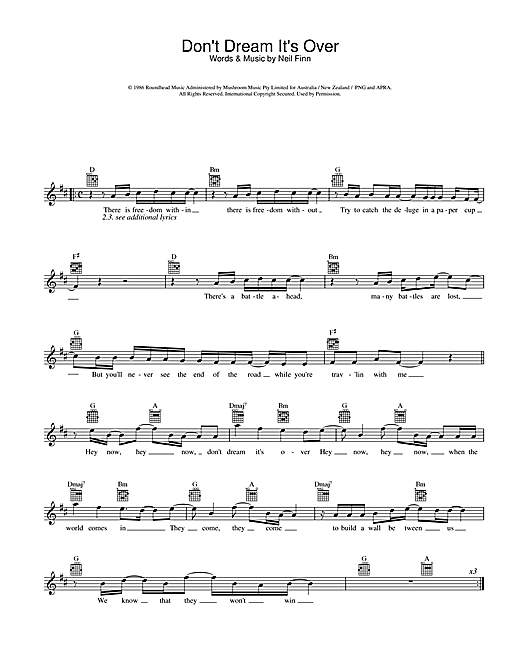 Don't Dream It's Over (Lead Sheet / Fake Book)