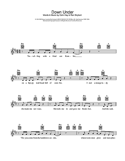 Down Under Sheet Music
