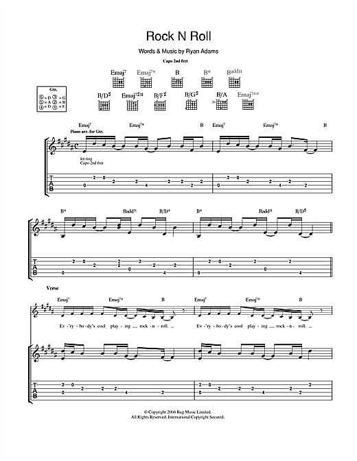 Tablature guitare Rock 'N Roll de Ryan Adams - Tablature Guitare
