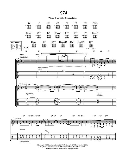 Tablature guitare 1974 de Ryan Adams - Tablature Guitare