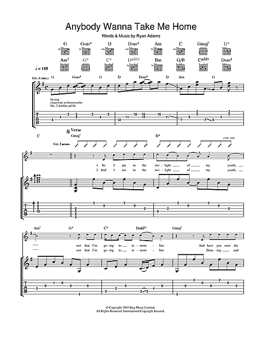 Anybody Wanna Take Me Home Sheet Music
