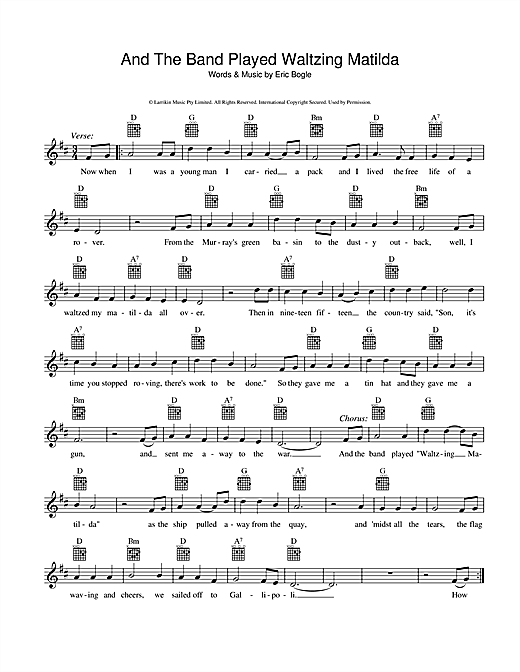 Guitar u00bb Waltzing Matilda Guitar Tabs - Music Sheets, Tablature, Chords and Lyrics
