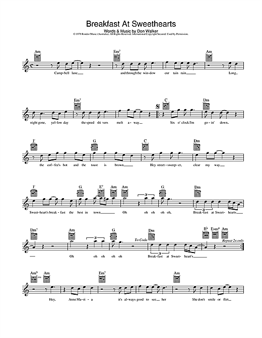 Breakfast At Sweethearts Sheet Music