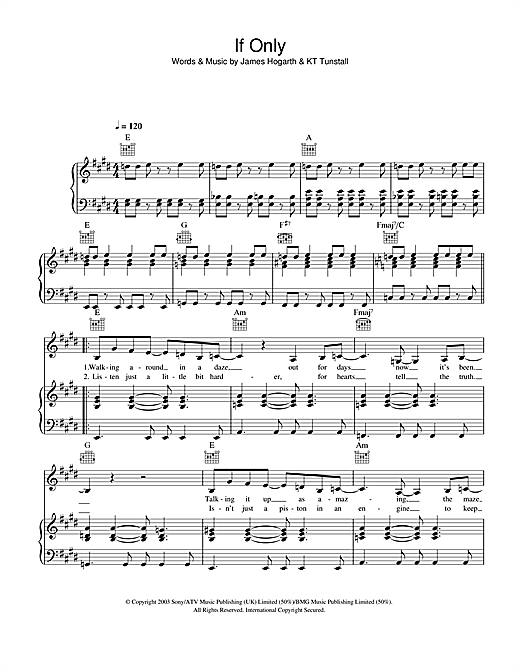 Partition piano If Only de KT Tunstall - Piano Voix Guitare