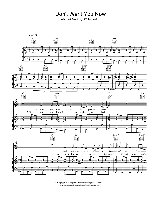I Don't Want You Now Sheet Music