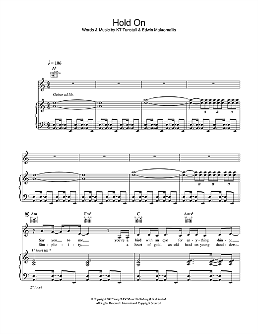 Hold On Sheet Music