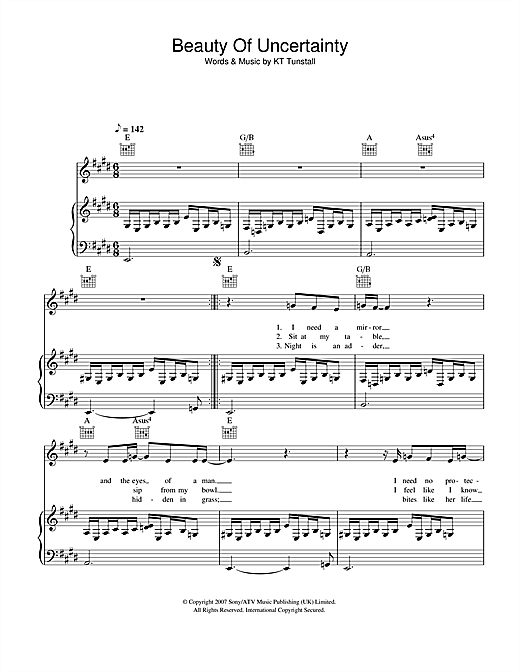 Beauty Of Uncertainty Sheet Music