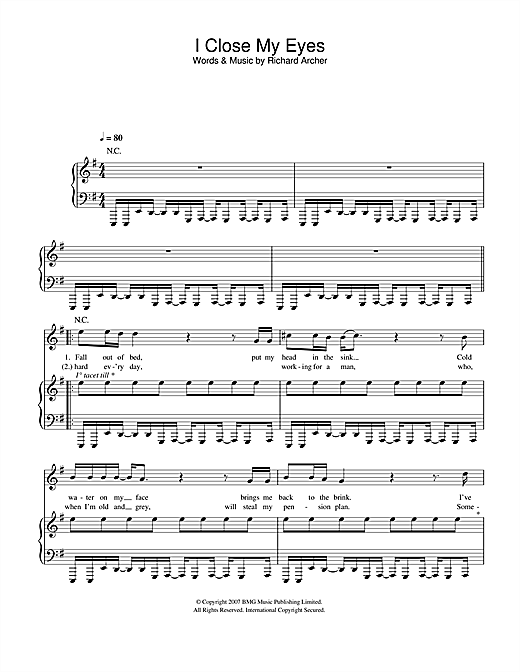 I Close My Eyes Sheet Music