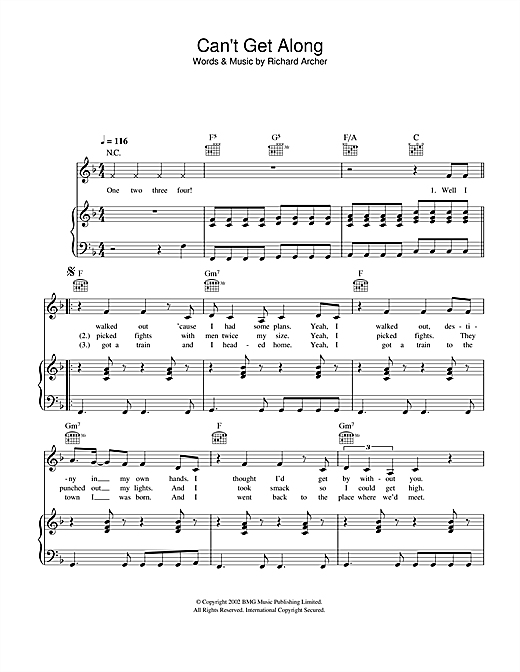 Can't Get Along (Without You) Sheet Music