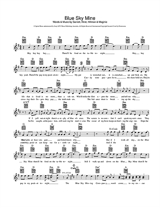 Blue Sky Mine Sheet Music