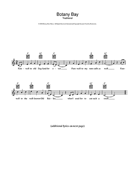 Botany Bay Sheet Music