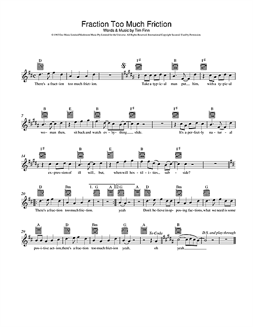 Fraction Too Much Friction Sheet Music