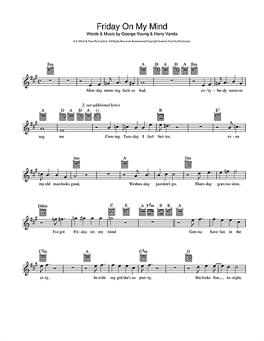 Friday On My Mind Sheet Music