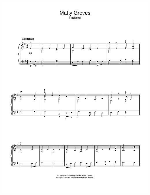 Matty Groves Sheet Music