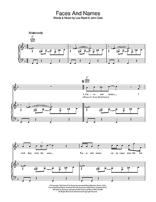 Faces And Names Sheet Music