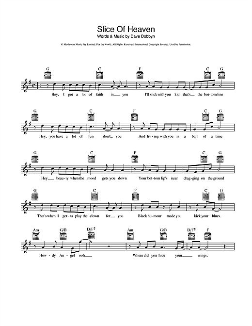 Slice Of Heaven Sheet Music