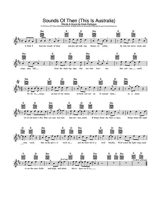 Sounds Of Then (This Is Australia) Sheet Music