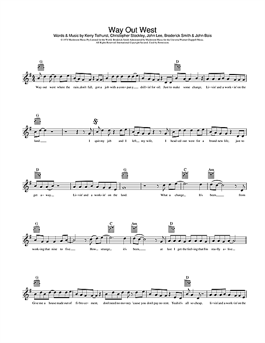 Way Out West Sheet Music