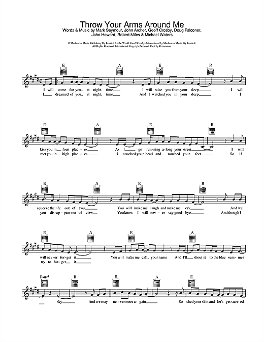 Throw Your Arms Around Me Sheet Music
