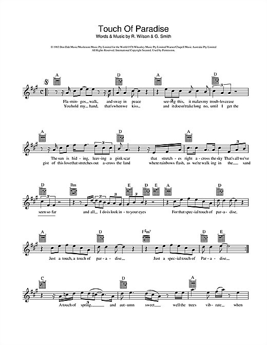 Touch Of Paradise Sheet Music