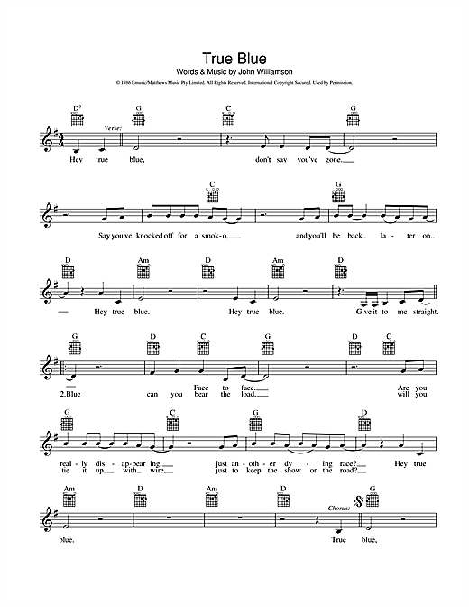True Blue Sheet Music