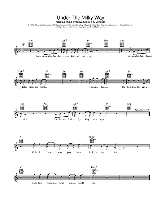 Under The Milky Way Sheet Music