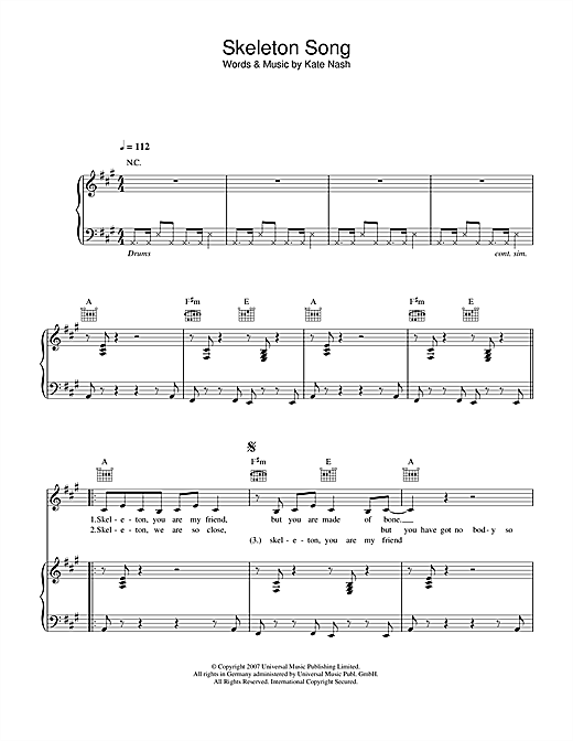 Skeleton Song Sheet Music