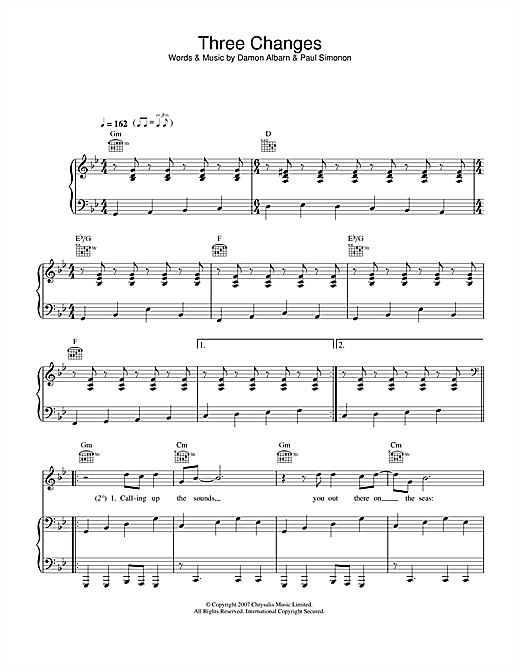 Three Changes Sheet Music