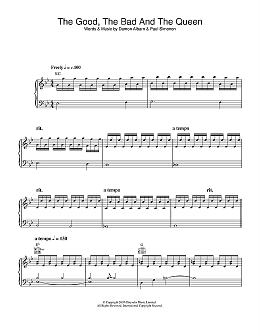 Partition piano The Good The Bad And The Queen de The Good The Bad & The Queen - Piano Voix Guitare
