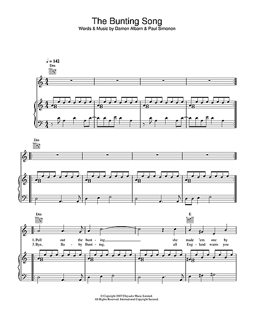 The Bunting Song (Piano, Vocal & Guitar)