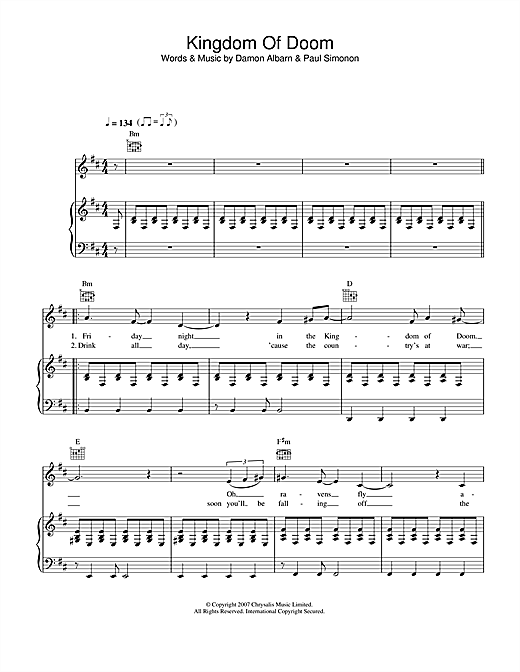 Kingdom Of Doom Sheet Music