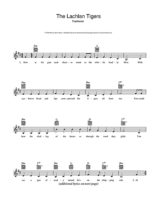 The Lachlan Tigers Sheet Music