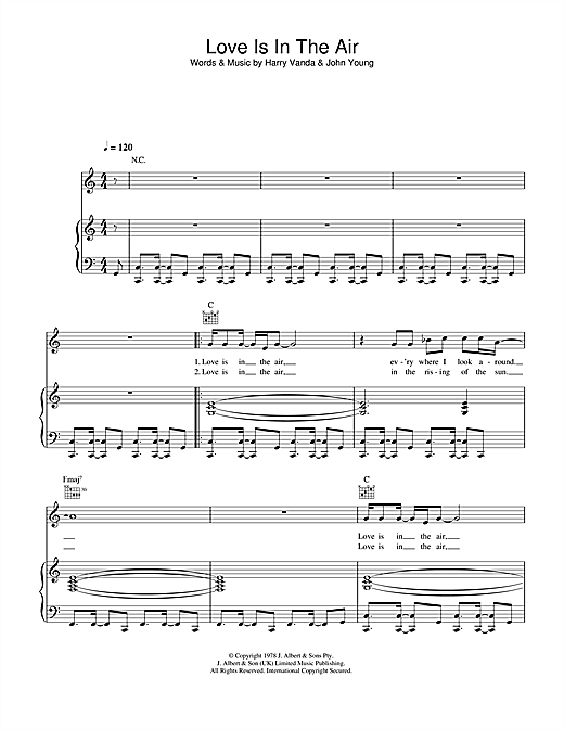 Love Is In The Air Sheet Music