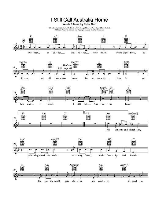 I Still Call Australia Home (Lead Sheet / Fake Book)
