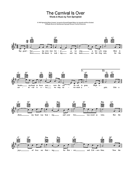 The Carnival Is Over Sheet Music