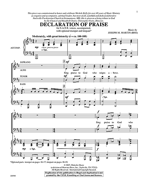 Declaration Of Praise Sheet Music