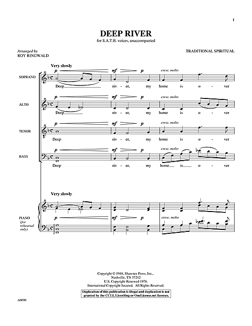 Partition chorale Deep River de Roy Ringwald - SATB